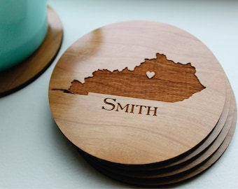 Personalized Wood Coaster Set of 4, Custom Engraved Coasters, Kentucky State Love (OR ANY STATE) With Heart Over City, Wedding Favor Gift