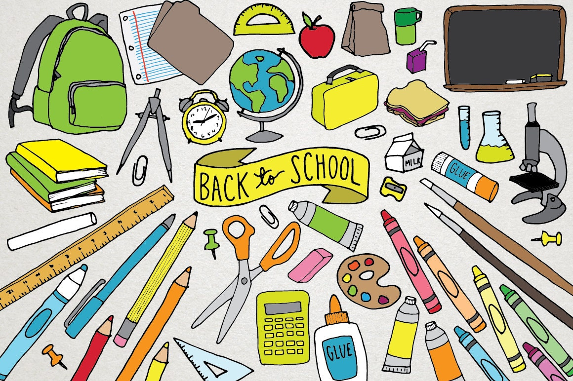 Back to school clipart school supplies clipart backpack this is a digital file voltagebd Image collections