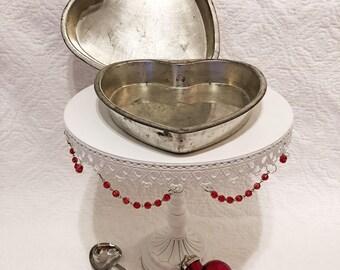 Two vintage Bake King, heart cake pans, vintage kitchen decor, vintage pans, Valentines Day decor