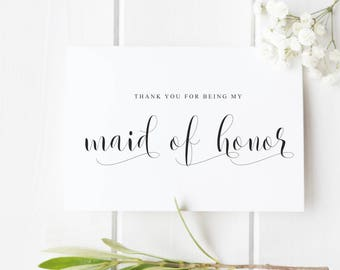 Maid of Honor Thank You Card, Thank You For Being My Maid of Honour, Wedding Thank You Card, Bride Tribe Thank You Card
