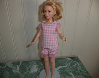 Pajamas, Pink Gingham Check, fits 9 inch dolls, little sister