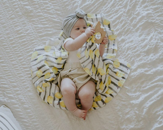 Featured listing image: Market Stripe Lemon /// Baby organic double gauze swaddle