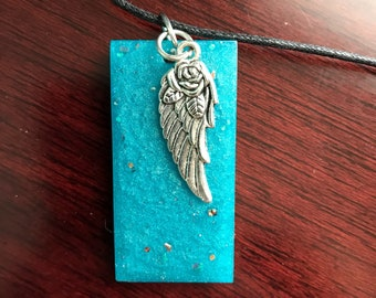 Turquoise resin with wing necklace