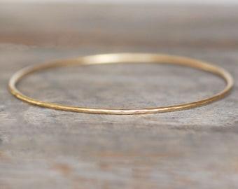 Gold Bangle Bracelet, Choose 14k OR 18k Gold , Spoil Me Rotten Bracelet - Eco-Friendly Recycled Gold