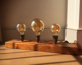 Reclaimed wood 4 piece table lamp