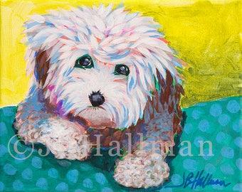 """Bichon Poodle Mix - 8x10"""" Original acrylic painting dog portrait on canvas"""