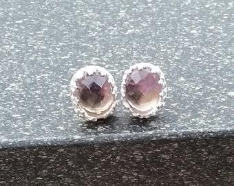 Ametrine earrings, Ametrine studs, Sterling silver studs, Stud earrings, Silver earrings, Silver studs,