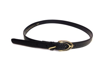 Black Genuine Sheka Snake Skin Statement Belt - Size Large