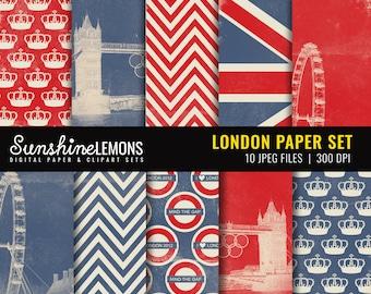 London Digital Scrapbooking Paper Set - COMMERCIAL USE Read Terms Below