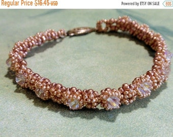 Half Price One week sale On sale -30% Gold Beads and Swarovski Crystal Bracelet