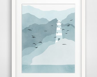 Lighthouse Art Print, Nautical Decor, Beach Decor, Coastal Decor - Blue Grey