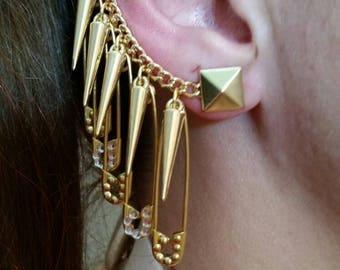 NEW Harley Quinn Safety Pin Earrings  (2 CZ & 3 Gold Octagon Embellished Safety Pins) with 5 Small Gold Spikes!