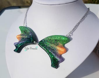 Large Bat Wings Holographic Resin Necklace - Halloween, Creepy