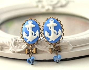 Ship anchor  clip earrings kawaii blue gothic lolita heart
