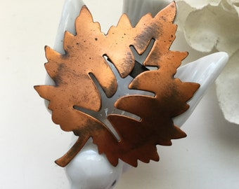 Copper Leaf Brooch Pin Vintage Cut out Maple Fall Coat Scarf Patina Gift Collectible Nature Botanical Gift