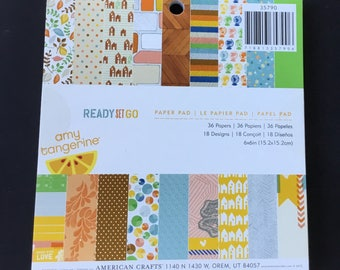 """American Crafts Ready Set Go Paper Pad - 6""""x 6"""" - 36 Sheets - 18 Designs"""