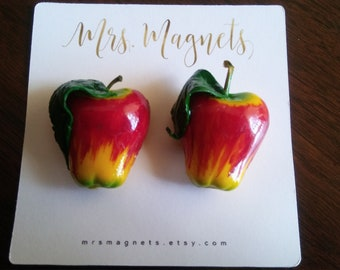 Apple Magnets Set of 2 - kitchen refrigerator magnets, office magnets, teacher gift, hostess gift
