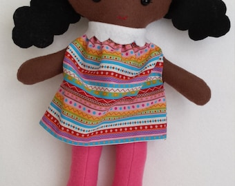 Custom Order for Vanessa--Felt Doll with Curly Black Pigtails in Pink Cotton Dress