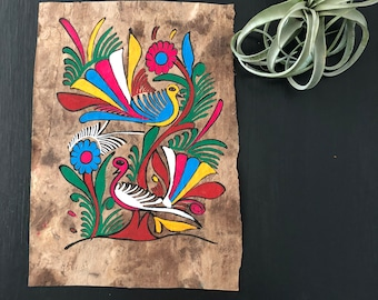 Mexican Folk Art Bird Bark Painting - Tropical Decor Artwork