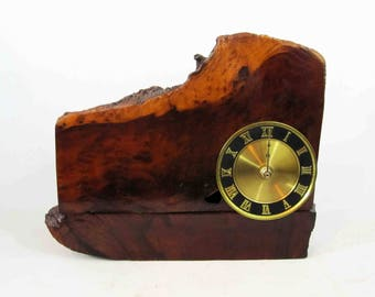 Vintage Live Edge Wood Slab Table Clock w/ Roman Numeral Face. Circa 1950's - 1960's.