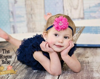 Nautical Anchor Headband -  Hot Pink & Navy Blue  - Newborn Infant Baby Toddler Girls Adult