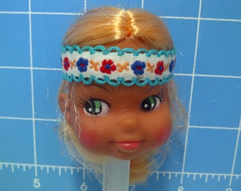 """Vinyl Indian Girl Doll Head Blonde Rooted Hair, White with Blue Trim and Flowers Headband, 3"""" Tall with 3/4"""" Neck"""