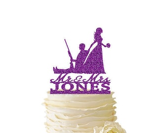 Glitter Bride Dragging Groom - Hunting Groom - With Last Name - Wedding - Anniversary - Fishing Cake Topper -  157