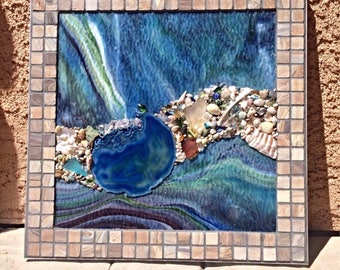Stained Glass Mosaic, Stained Glass Panel, Mosaic Wall Art, Stained Glass Abstract, Abstract Art, Mother's Day Gift, Tile Mosaic, Mosaic Art