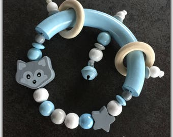 wooden rattle Bell rattle, rattle beads, light blue and gray