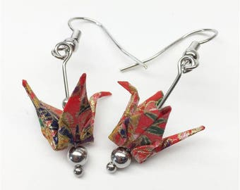 Red Origami Crane Earrings