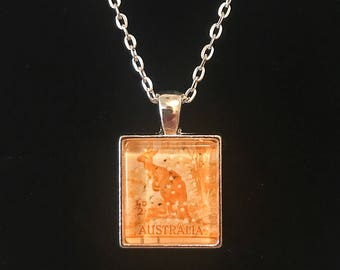 Kangaroo Postage Stamp Necklace | 1938 Stamp | Australia Necklace
