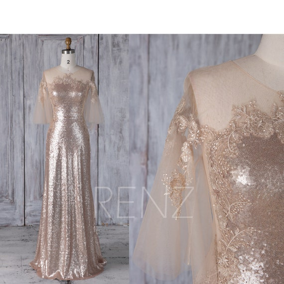 Bell Sleeve Wedding Dress: Tan Sequin Bridesmaid Dress Train Bell Sleeve Tulle Lace