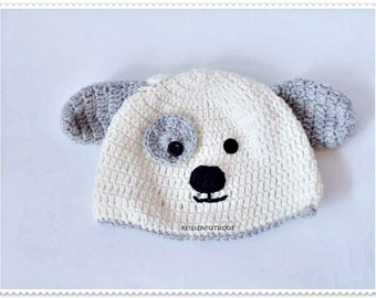 Baby dog hat Crochet dog hat White and gray Newborn hat Baby photo props Toddler hat Funny hat , crochet beanie Crochet beanie