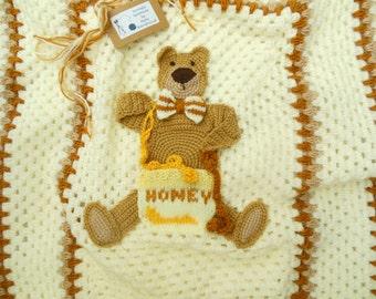 Custom Baby Blanket Crochet Afghan Throw  Crochet Forest Bear Picture Animal Nursery Ideal Shower, Receiving, Grandchild Gift Made To Order