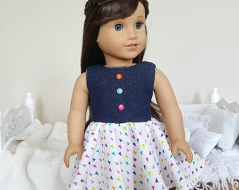 18 inch doll dress | denim and white dress