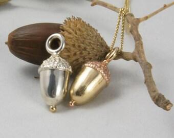 Acorn Pendants - Britannia Silver Acorn - Rose Gold Top Acorn - Yellow Gold Top Acorn - The Perfect Bridesmaid or Christening Gift