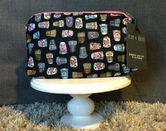 Decortive Thimble Bag   sewing motif   make-up bag,Zipper Pouch Bag, fun bag, money bag, cosmetic bag, everything bag, Plum and Khloe Design