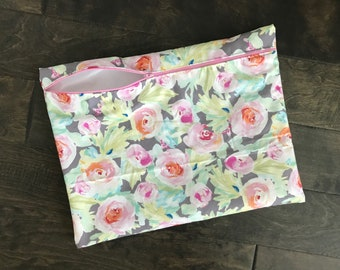 Wetbag, Beach Bag, Pool Bag, Make Up Bag, Watercolor Floral, Gray and Pink Flowers