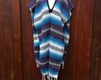 Beach Comber Bohemian Serape / Mexican Blanket Shawl Poncho