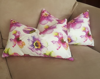 Floral Decorative Pillow-Pink, Purple, White Modern Throw Pillow cover