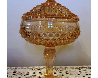 Pink Pedestal, Cut Depresssion Glass Bowl with Lid