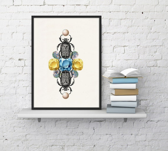 Beetles and stones together! - White paper jewels and beetles print  - Luxury  Home decor  collage ANI235WA4