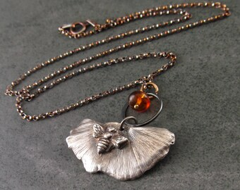 Gingko leaf pendant w/ a bee in eco friendly fine silver, handmade silver and amber necklace-OOAK