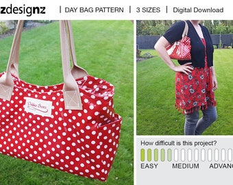 SALE*** DAY BAG - 3 sizes for the price of 1 - Digital downoad, pdf pattern. womens handbag, vintage chic, shoulder bag, tote, carry, sewing