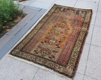 oushak vintage rug , rug runner small, runner oushak small home floor rugs  //  539