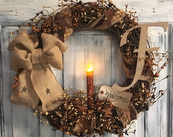 "18"" Primitive Country Monogrammed Grapevine Wreath"