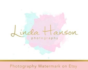 Instant Download Logo - DIY Pre-made Logo - PSD file - Watercolor Logo - Watercolor watermark - Gold Logo Template - Photography Logo 256