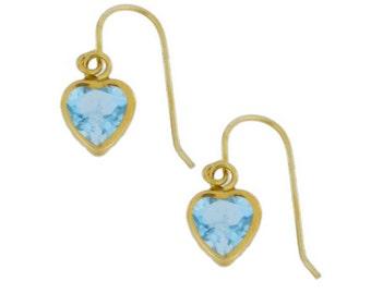 14Kt Yellow Gold Aquamarine Heart Bezel Dangle Earrings