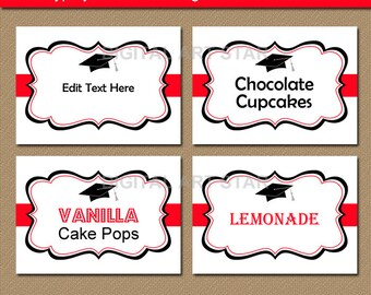 College Graduation Labels, High School Graduation Party Decorations 2018, Downloadable Buffet Cards, Candy Buffet Labels Printable Labels G1