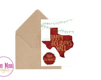 Texas Holiday Card- Watercolor- Digital File- Printable- Christmas Card-
